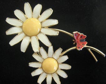 Classic Weiss Double Daisy Enamel Brooch with Red Butterfly