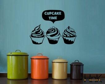cupcake time decal vinyl refrigerator sticker wall decal interior kitchen decor 015