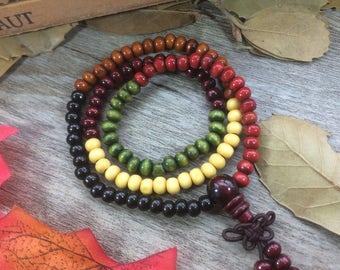 216 6mm Mixed Colorful Wooden Beads Red Blue Black Yellow Buddhism Prayer Beads Japa Mala Bracelet Multi-layer