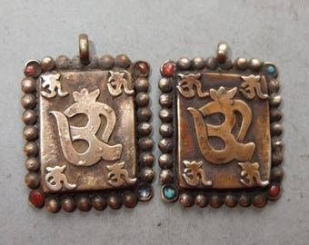 Two Buddhist Metal Amulets Pendants with Mantra OM Nepal, Buddhist Jewelry, Folk Amulet, Tribal Art, FREE SHIPPING