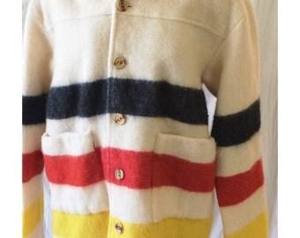Vintage Handmade Striped Wool Blanket Pea Coat