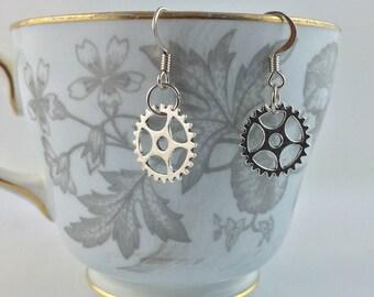 Gear Wheel Earrings - Gear Cog Charm Earrings - Steampunk Gear Wheel Earrings - Mechanical Jewelry