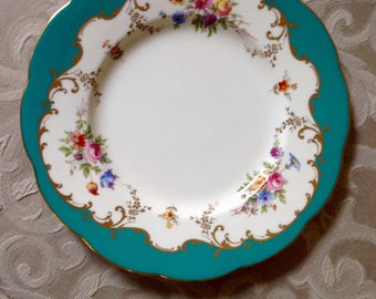 Antique Minton Painted plate with Floral Design