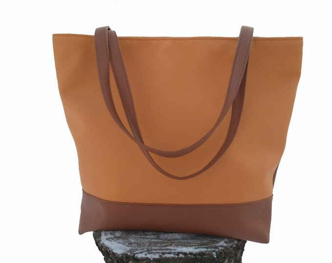 Large Tote, Summer bag, Brown handbag, Organizer bag, Many Pockets, Vegan Leather Personalized tote