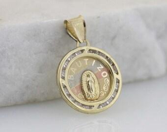 Solid Gold Baptism Medal, 10K Gold Baptism Necklace, 10K Solid Gold Guadalupe Necklace, 10K Tri Color Gold Our Lady of Guadalupe Necklace,