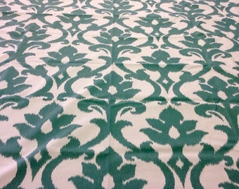 Fabric - By the Yard - Upholstery, Drapery, Craft, Sewing - Bold Floral Ikat -  Green Ivory