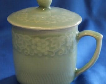 Vintage Celadon Green Coffee or Tea Cup (Mug) with Lid --- Grape Pattern
