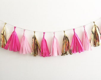 Hot Pink Gold and Pink Tassel Garland Pink and Gold First Birthday Pink and Gold Party Bridal Shower Decor Pink Tissue Tassels