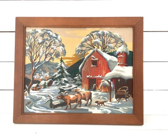 """Vintage paint by numbers farm scene -1950s -wood frame - rustic - cows -barn -farm -19"""" x 23"""""""