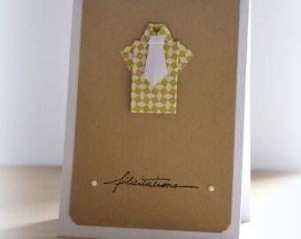 Congratulations baby boy origami card, envelope included