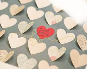 Wedding guest book alternative frame / personalised / hearts, alternative, unique