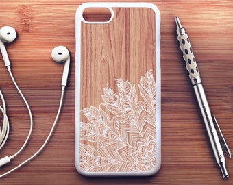 Wood Feather iPhone 7 Case Wood iPhone 6s Case iPhone 6 Plus Case iPhone 6s Plus Case iPhone 5s Case Floral iPhone SE Case iPhone 5c Case