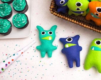 Set of 13+ Adopt a Monster Plush | Mini Stuffed Monster Party Favor in Orange Blue Mint and Lime | Felt Monster | Monster Theme
