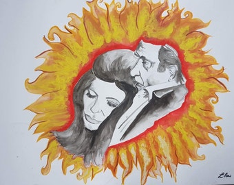 Ring of fire Johnny Cash Johnny and June Watercolour