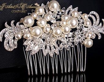 Crystal & Pearl Bridal Comb, PRINCESS CAMILLE Crystal Bridal Headpiece, Luxury Wedding Headpiece, Couture Bridal Headpiece, Bridal Comb