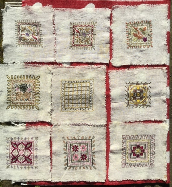 Set of 9 vintage embroideries on linen, machine embroidered panels