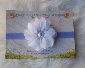 Periwinkle and White Ballerina Headband ~ White Flower Headband ~ Spring Headband ~ Girls Headband ~ Baby Headband ~ Newborn Headband