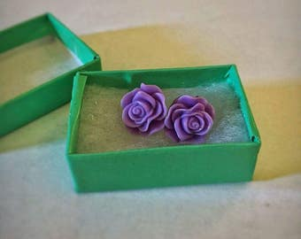 Deep Lavender Rose Earrings