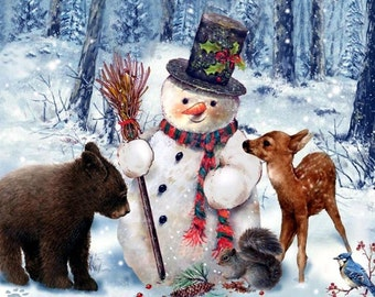 """6"""" X 8"""" Ceramic Accent Tile Curious Bear and Snowman and Bambi"""
