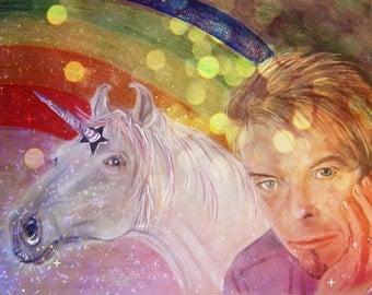 PRINT David Bowie with unicorn Twinky