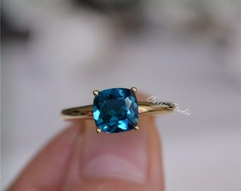 14K Yellow Gold London Blue Topaz Ring Natural Topaz Engagement Ring Wedding Ring Promise Ring Anniversary Ring