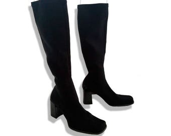 90s does 70s Amazing neoprene knee high go go boots