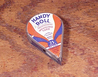 Vintage 1920's Handy Roll Sewing Mending Tin Dispenser and Tape, No. 101, 25 Cent Original Price, Sewing