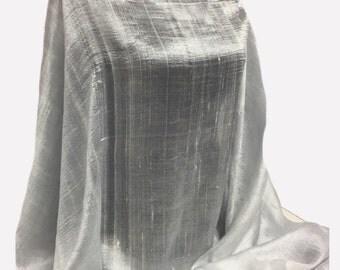 Silver-Grey-100% Raw Silk-Thailand-Premium Quality-Shawl-Pashmina -Shawl- Scarf-Wrap-Soft-Warm-GIFT-Reversiblewedding-bridal-bride