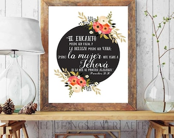 SPANISH | JW | Proverbios 31:30 | Capable Wife  | Elder's Wife | Jehovah | Art | Print | Printable | Decor | Pioneer | Gift | Present 0099