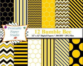 Bumble Bee Digital Paper Pack, Yellow & Black Bumblebee Theme Patterned Paper Instant Download, Bumblee Scrapbook Paper 12x12 Digital File