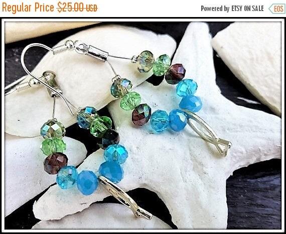 Free Shipping - Blue drop earrings, Multicolored Earrings, Large Dangle Earrings, Long Womens Earrings, Blue Beach Earrings, Green Blue chan