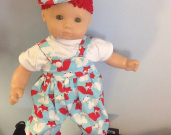 Bitty baby overalls, tee shirt and hair bow with FREE SHIPPING