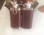 Ready to Ship - Horween Leather Covered Mini Flask, 2 oz