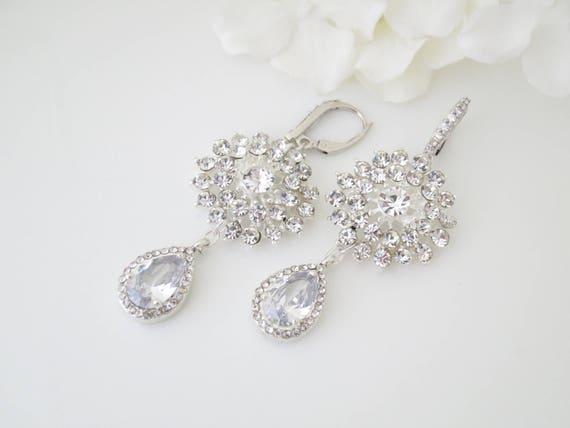 Wedding earring, Rhinestone chandelier bridal earring, Statement cz teardrop earring, Unique One of a Kind crystal flower drop earring