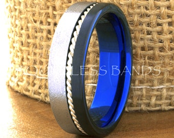 Tungsten Ring Tungsten Wedding Ring Mens Wedding Ring Valentine Gift Engagement 7mm Tricolor Black And Blue Woven Silver Inlay Ring Elegant