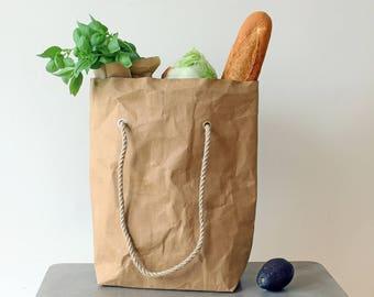 Grocery Bag, Paper Tote Bag, Washable Paper Bag, Brown Kraft Paper Bag,