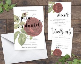Flower Wedding Invitations, Vintage Rose Wedding Invitation, Garden Wedding Invitation, Greenery Wedding - 063