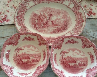 Vintage TRANSFERWARE PLATTER Wilkinson Pastoral Davenport French Country Prairie Cottage Chic