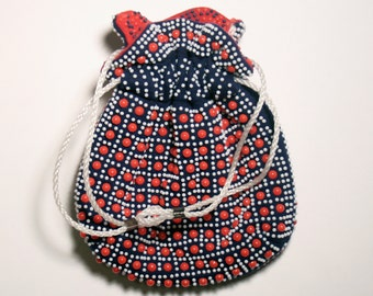 Vintage Beaded Cinch Purse - Reversible Hand Bag - Red & Navy Blue