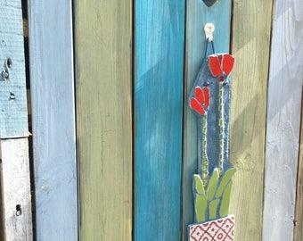 Tulip Mosaic Garden Art. Unique gift for a garden or indoors.