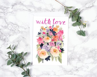 Greeting Card - Bright Flowers - With Love - Folded Notecard 5x7 A7 - Pink and Orange Modern Watercolor Floral Bouquet