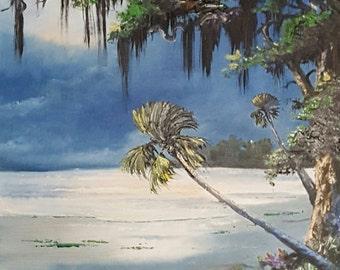 Original Painting Florida Landscape Art Tropical Painting Palm Tree painting Impressionism Moonlight Palm 16x20 unframed sale