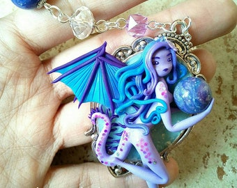 Necklace fimo doll handmade purple tones on cameo metal base silver plated