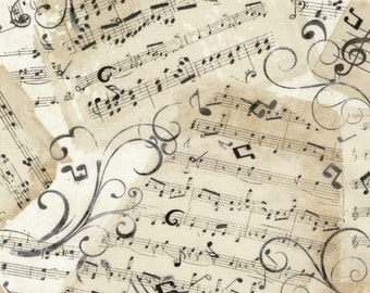 Music Notes Fabric / Music Sheets / C4830-Natural Timeless Treasures 100% cotton  / Fat Quarters and Yardage /  Cotton Fabric