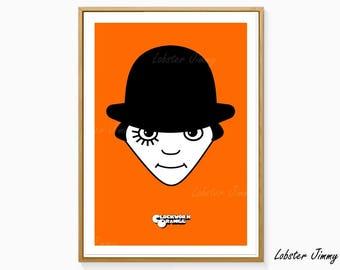 Comic Wall Art, Clockwork Orange, Digital Art, Instant Download, Alternative Movie Posters, Stanley Kubrick, Alex DeLarge