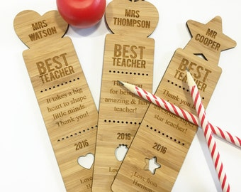 Best Teacher Personalised Bamboo Bookmark (3 designs)