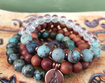 Soul's Purpose Stack of Three Spiritual Junkies Double Wrap Sandalwood, African Turquoise (Jasper) + Quartz Crystal Yoga Bracelets