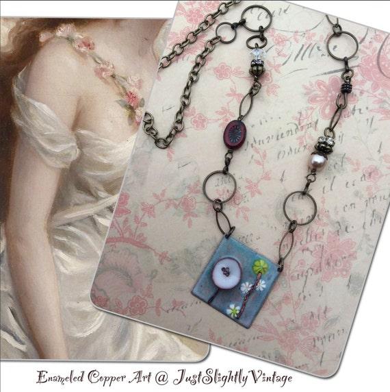 Poppy Field...Enameled Copper Art, Romantic Jewelry, Pearl Fleue de lis, Artisan Assemblage, Art Deco, OOAK, JustSlightlyVintage