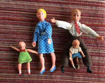 Rubber Dolls,German Doll Family,Dollhouse Family,Rubber Doll Family,German Rubber Dolls,Dollhouse Dolls,Miniature Doll,Doll Family,Mini Doll