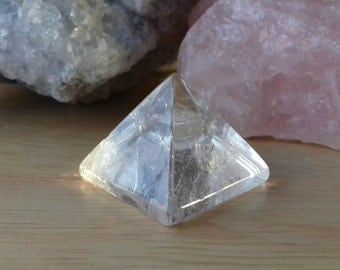 Clear Quartz Energy Charged Crystal Baby Pyramid - Crystal Healing, Balance, Harmony, Clarity, Master Healer, Energy Amplifier, Cleansing